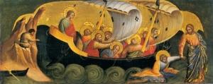 16_Lorenzo_Veneziano,_Christ_Rescuing_Peter_from_Drowning._1370_Staatliche_Museen,_Berlin.